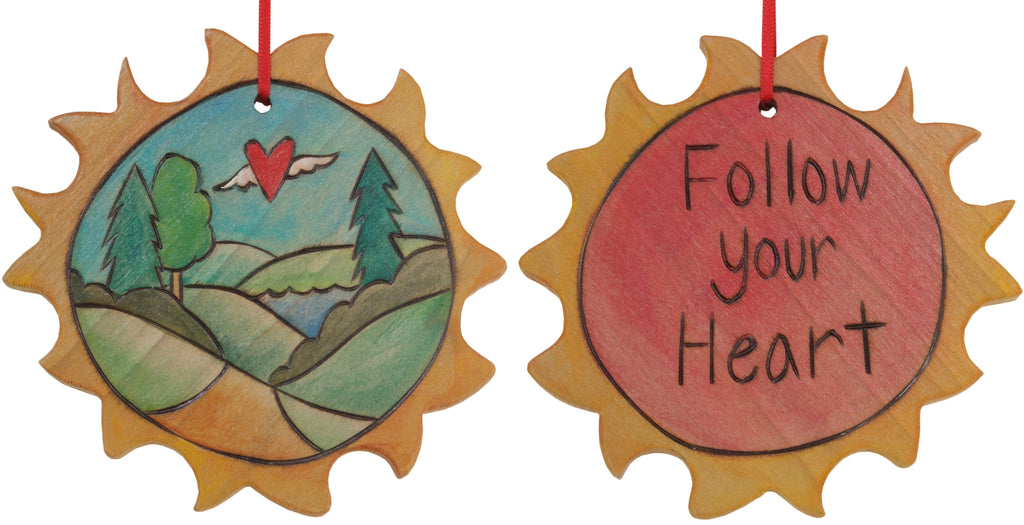 "Sun Ornament –  Lovely ""Follow your Heart"" ornament with rolling landscape and heart with wings"