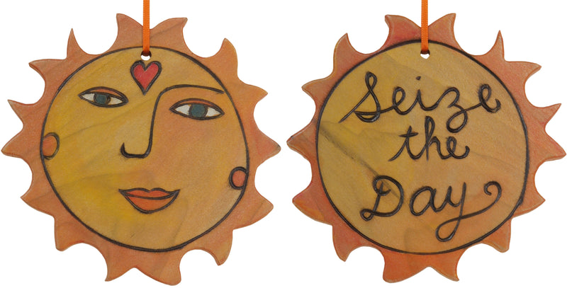 "Sun Ornament –  Lovely ""Seize the Day"" ornament with smiling sunshine"