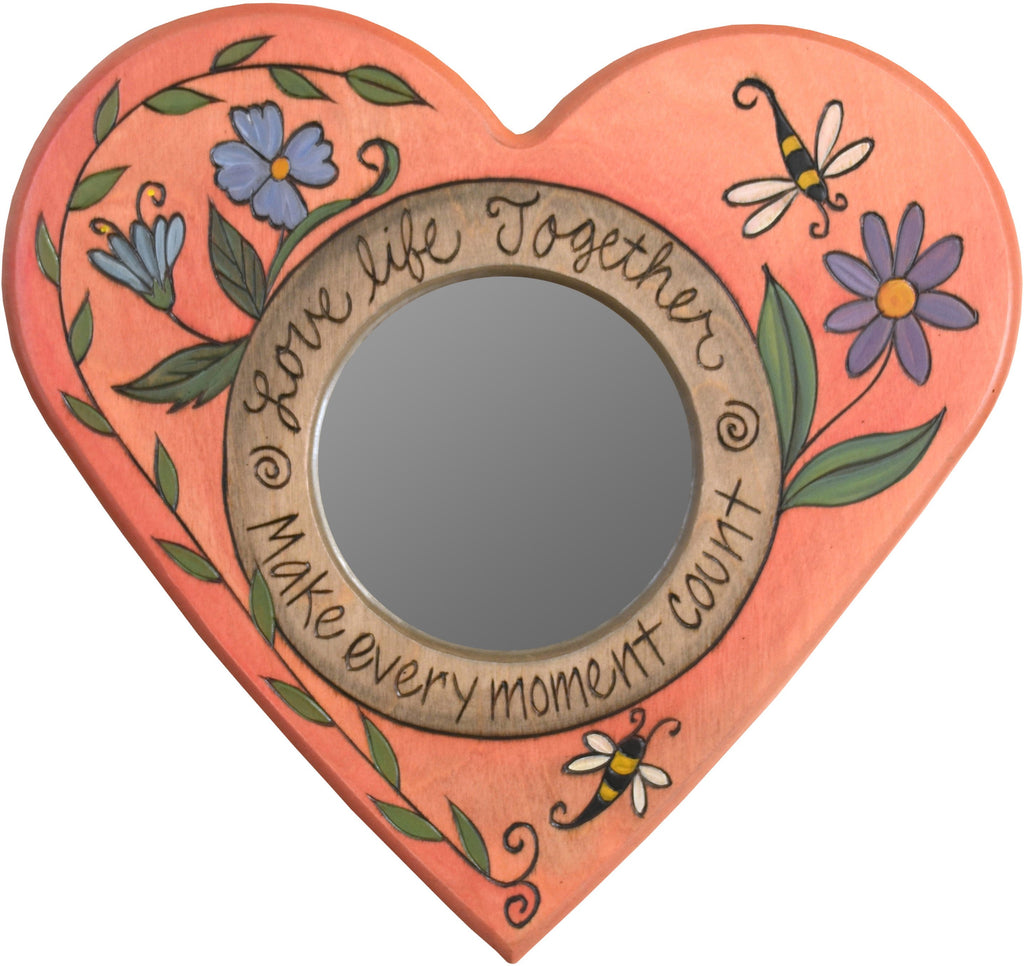 "Heart Shaped Mirror –  ""Make Every Moment Count"" heart-shaped mirror with flower and bee motif"