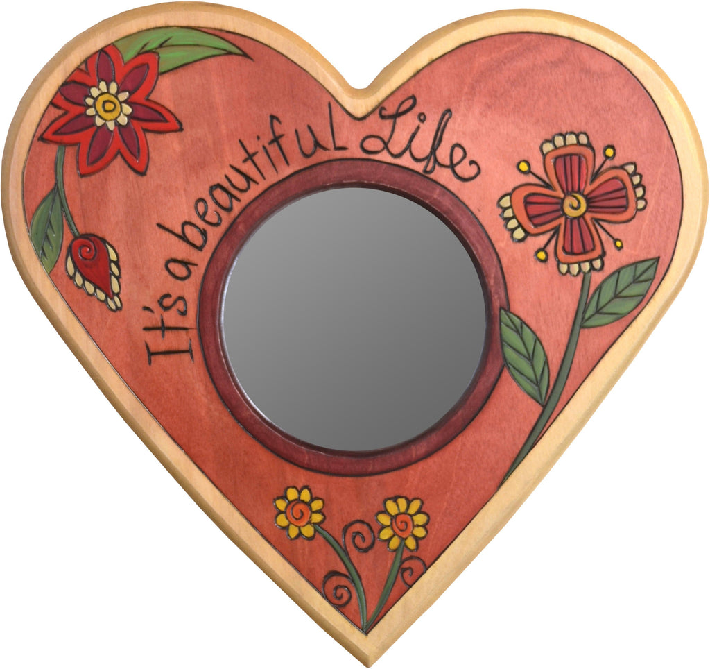 "Heart Shaped Mirror –  ""It's a Beautiful Life"" heart-shaped mirror with pink floral motif"