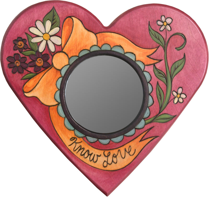 "Heart Shaped Mirror –  ""Know Love"" heart-shaped mirror with ribbon and flower motif"