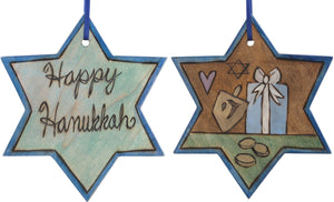 "Star of David Ornament –  ""Happy Hanukkah"" Star of David ornament with dreidel and gift motif"