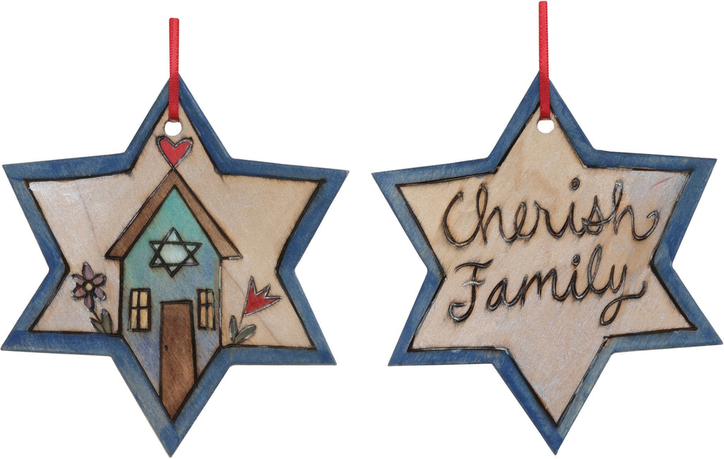 "Star of David Ornament –  ""Cherish Family"" Star of David ornament with home and flower motif"