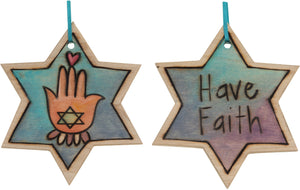 "Star of David Ornament –  ""Have Faith"" Star of David ornament with heart and hamsa motif"