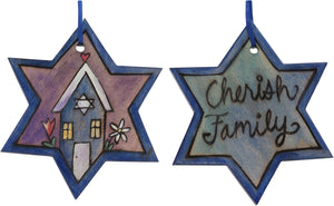 "Star of David Ornament –  ""Cherish Family"" Star of David ornament with heart home and flowers"