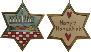 "Star of David Ornament –  ""Happy Hanukkah"" Star of David ornament with menorah"