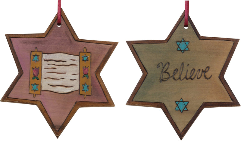 "Star of David Ornament –  ""Believe"" Star of David ornament with Torah scroll"