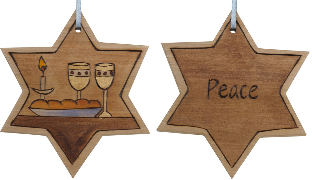 "Star of David Ornament –  ""Peace"" Star of David ornament with holy banquet"