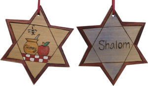 "Star of David Ornament –  ""Shalom"" Star of David ornament with honey, a bee and an apple"