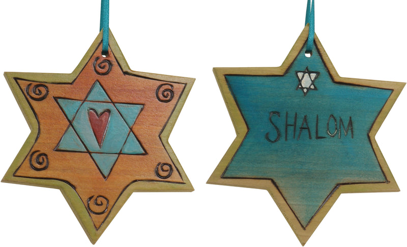 "Star of David Ornament –  ""Shalom"" Star of David ornament with heart motif"