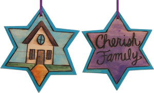 "Star of David Ornament –  ""Cherish Family"" Star of David ornament with cozy home motif"