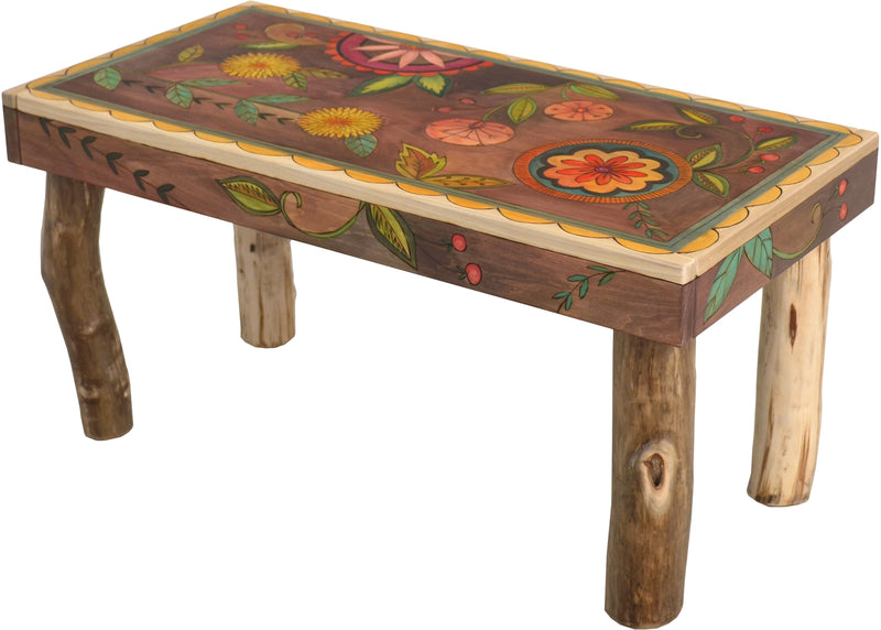 Sticks handmade 3' bench with contemporary folk art floral design