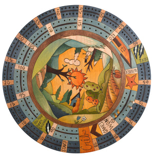 "20"" Cribbage Lazy Susan –  Four seasons themed landscape design"