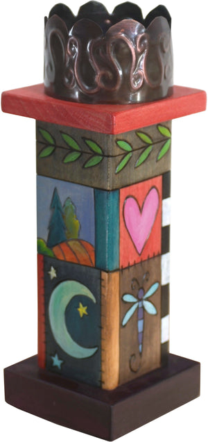 Small Pillar Candle Holder –  Eclectic candle holder with colorful block icons and patterns and unique stamped metal element