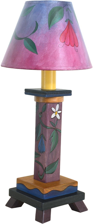 Milled Candlestick Lamp –  Sweet pink and purple floral lamp design