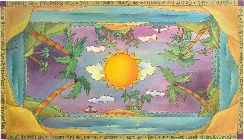 "Contemporary Coffee Table –  ""Live Well, Laugh Often, Love Much"" contemporary coffee table with sunny sky over a tropical island motif"