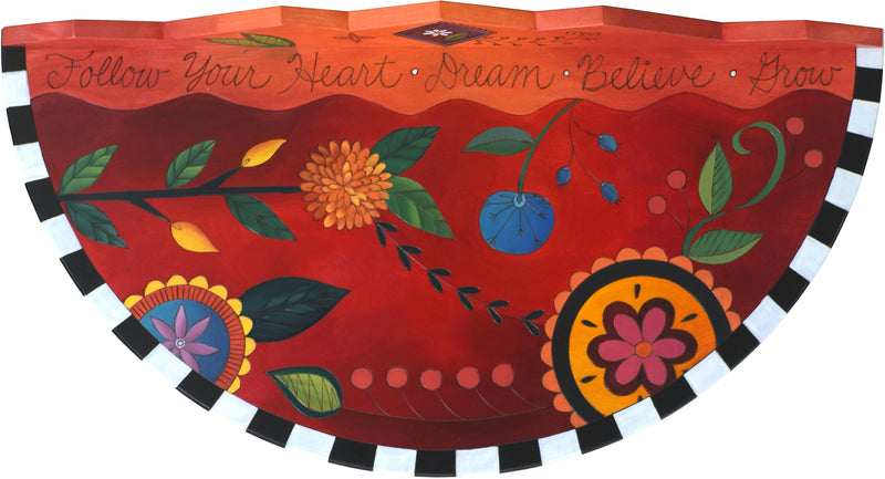 "Small Half Round Table –  ""Follow Your Heart"" half round table with bright contemporary floral motif on red background"