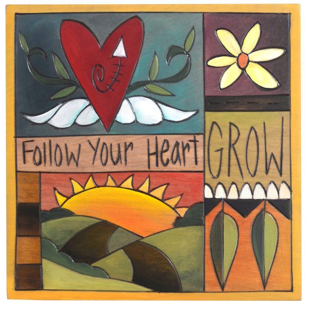 "Sticks handmade wall plaque with ""Follow your Heart, Grow"" quote and colorful life icons"