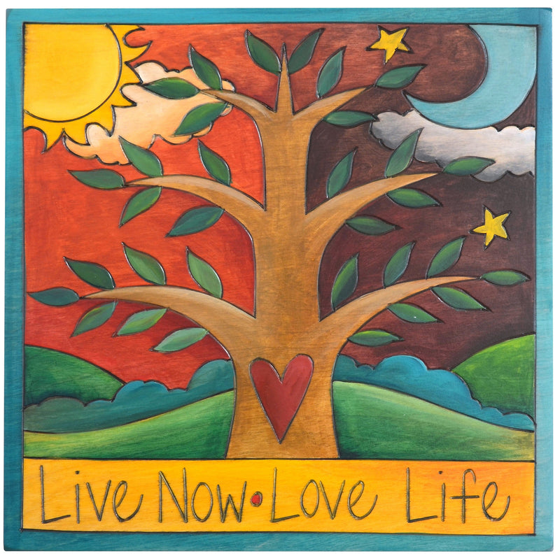 "Sticks handmade wall plaque with ""Live Now, Love Life"" quote and tree of life imagery"