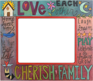 "8""x10"" Frame –  ""Love Each Other/Cherish Family"" frame with sun, moon and home motif"