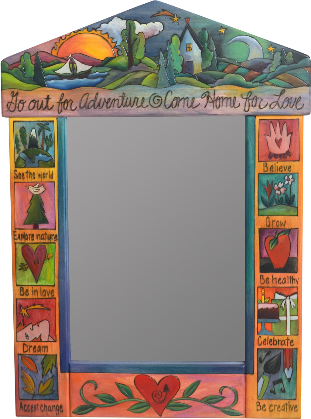 "Medium Mirror –  ""Go out for Adventure/Come Home for Love"" mirror with transition from day to night on the horizon motif"