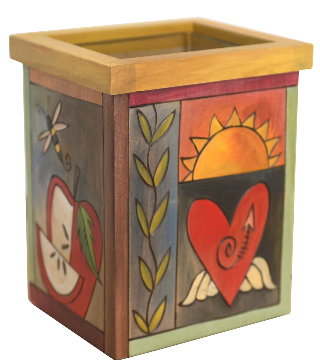 Vase/Utensil Box – Fun and colorful crazy quilt box vase design
