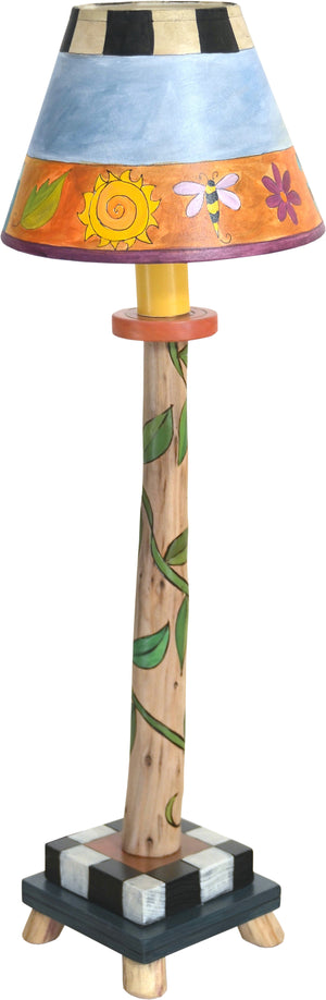 Log Candlestick Lamp –  Whimsical floating icon and vine lamp motif