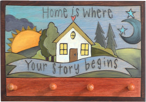 "Horizontal Key Ring Plaque –  ""Home is Where Your Story begins"" key ring plaque with heart home and sun and moon motif"