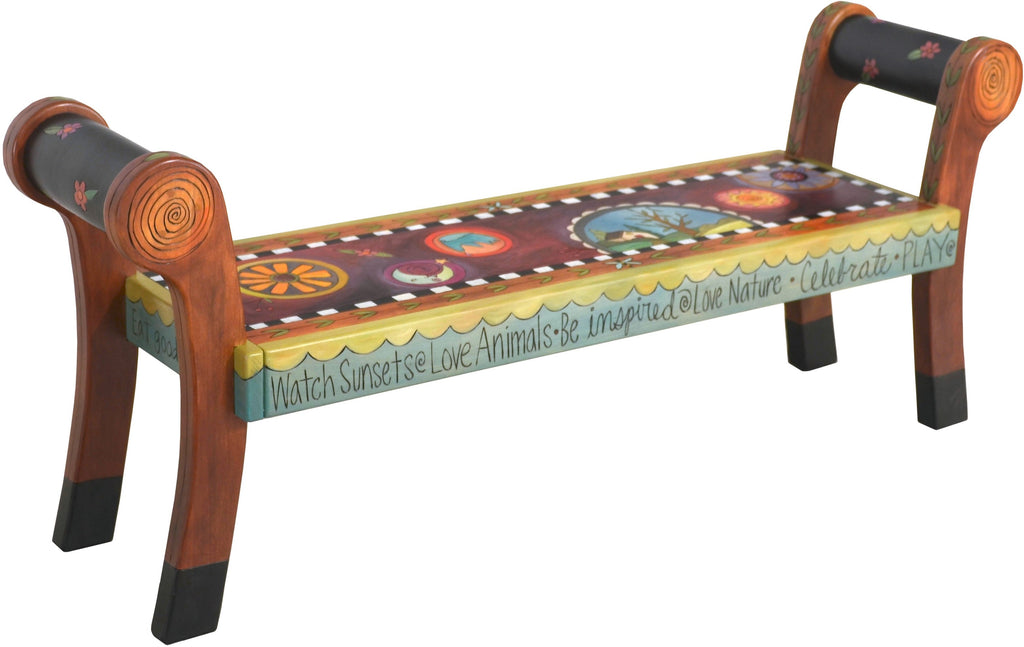 "Rolled Arm Bench –  ""Watch Sunsets"" rolled arm bench with tree of life and beautiful contemporary floral motif"
