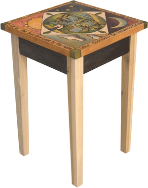 Small Square End Table –  Elegant and neutral end table with rolling landscape painted in the round with sun and moon motif
