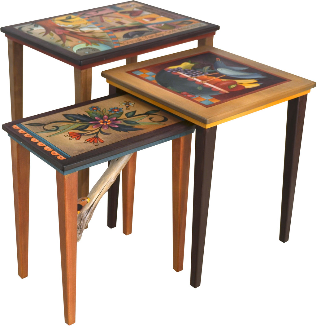 "Nesting Table Set –  ""Cherish Family"" nesting table set with sun and moon over tree of life motif"