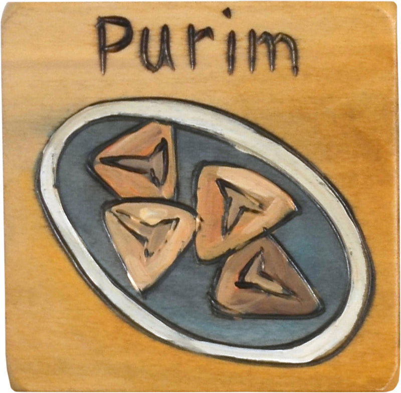 """Purim"" festival magnet with a dish of kreplach motif"