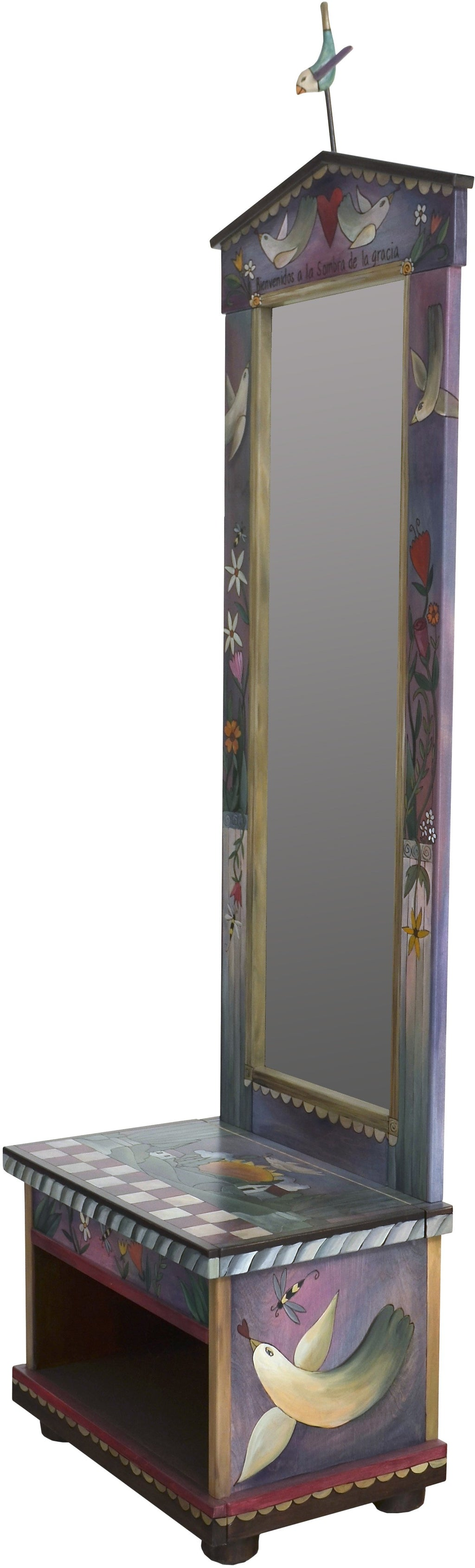 Hall Tree –  Beautiful folk art hall tree with mirror and storage bench featuring birds, landscape paintings, and checks