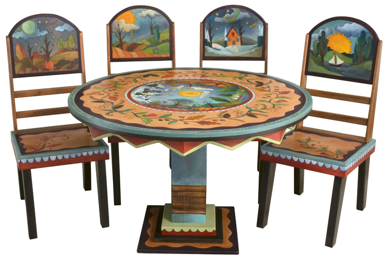 Sticks handmade dining table with four seasons design and matching chairs