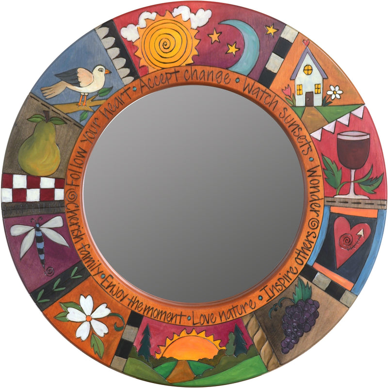 "Small Circle Mirror –  ""Enjoy the Moment"" circle mirror with sun and moon motif"