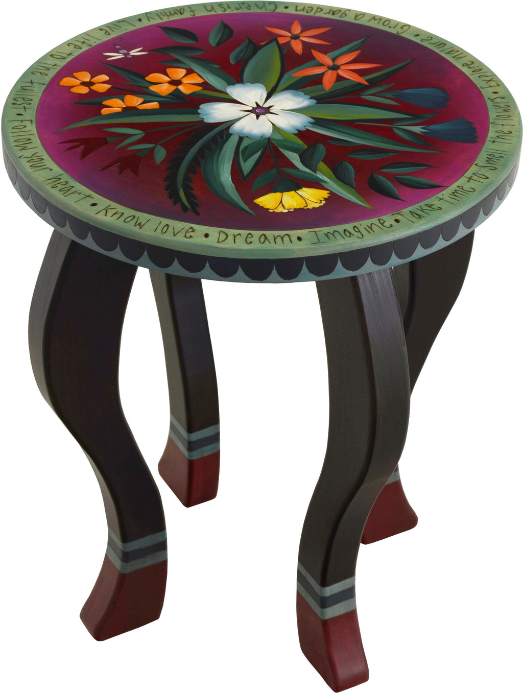 Round End Table –  Handsome end table with rich hues and floral motifs