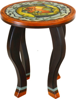 Round End Table –  Elegant and richly painted end table with landscape in the round and flowering vine motifs