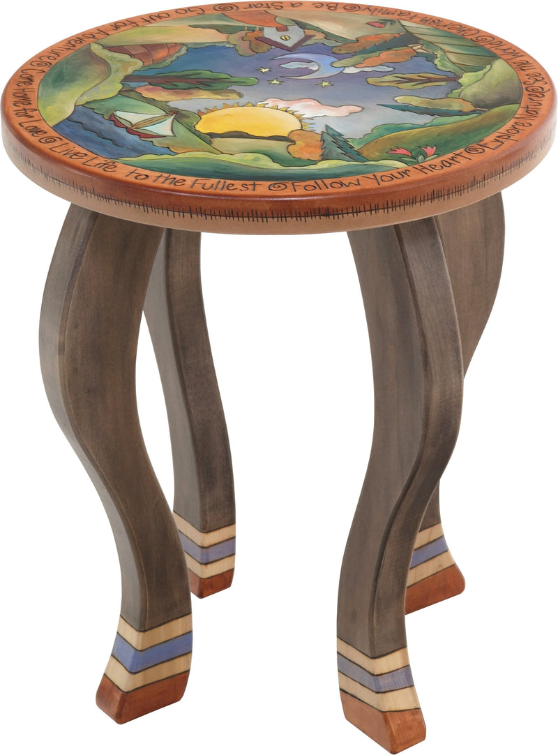 Round End Table –  Handsome end table with rolling landscape in the round and sun and moon motifs
