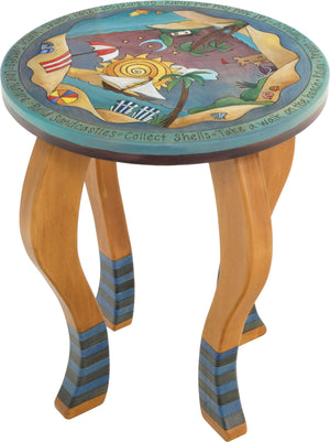 Round End Table –  Coastal themed end table with fun beach scenes