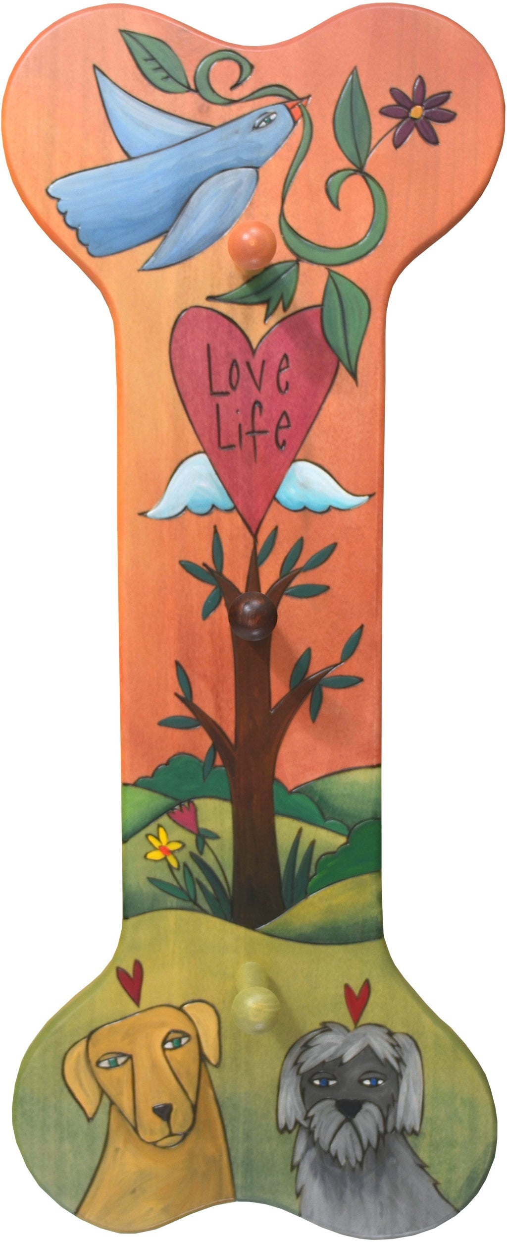 Vertical Dog Leash Rack –  Dog bone shaped leash rack with tree of life, pups, and additional painted elements