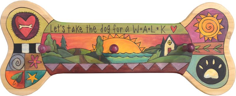 "Horizontal Dog Leash Rack –  ""Let's Take the Dog for a W.A.L.K"" horizontal dog leash rack with sunset on the horizon motif"