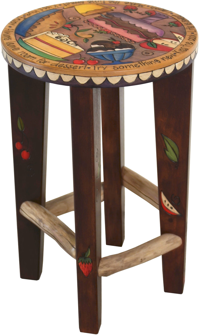 Round Stool –  Playful desert themed stool and sweets motif
