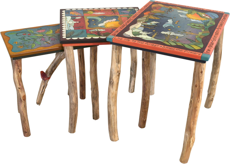 Nesting Table Set –  Lovely nesting table set with birch legs and four seasons motif throughout