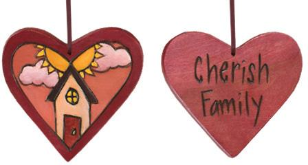 "Heart Ornament –  ""Cherish Family"" heart ornament with sun and home motif"
