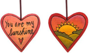 "Heart Ornament –  ""You are My Sunshine"" heart ornament with sunset motif"