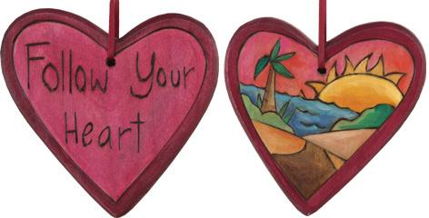 "Heart Ornament –  ""Follow Your Heart"" heart ornament with sunset on the beach motif"