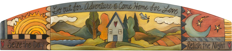 "Door Topper –  ""Go Out for Adventure, Come Home for Love"" Sun and moon themed door topper with heart home landscape"