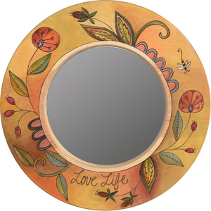 "Small Circle Mirror –  ""Love Life"" circle mirror with beautiful contemporary floral motif"