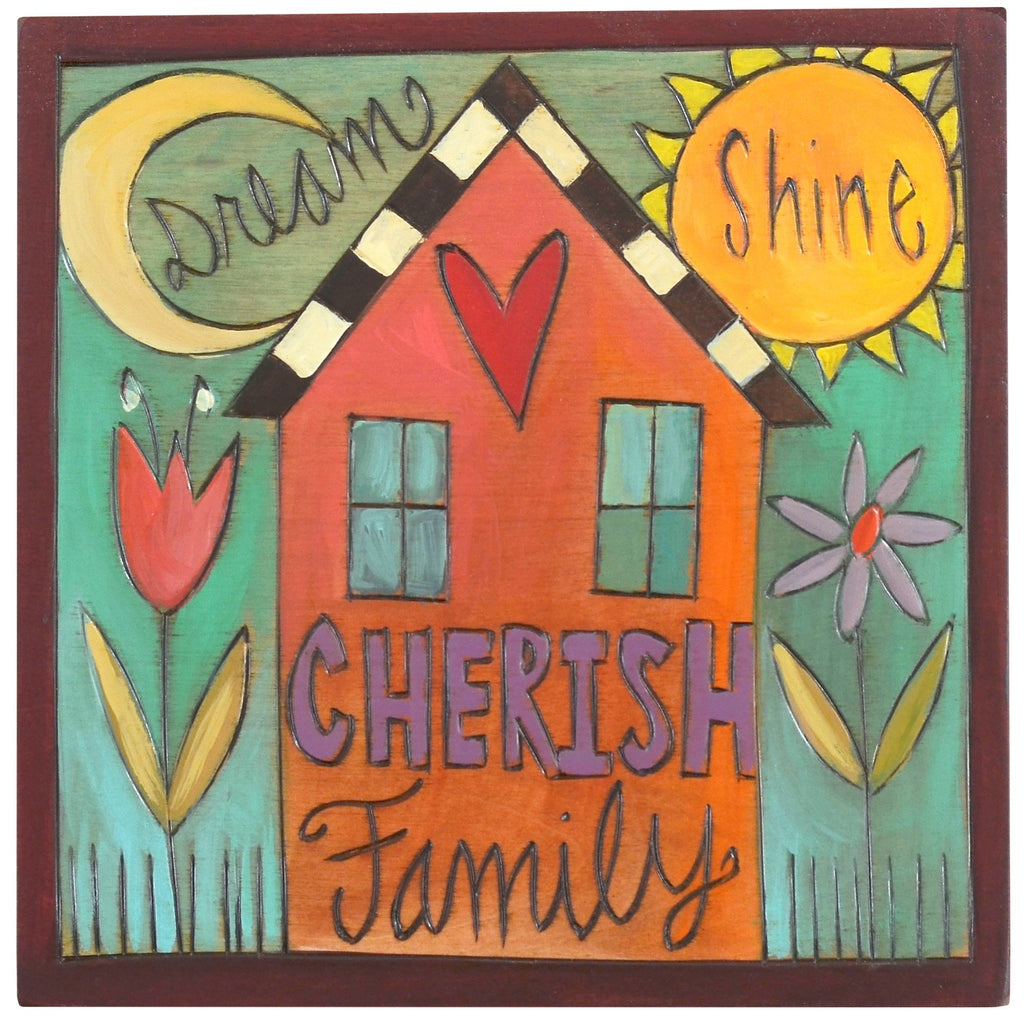 "Sticks handmade wall plaque with ""Dream, Shine, Cherish Family"" quote and theme"