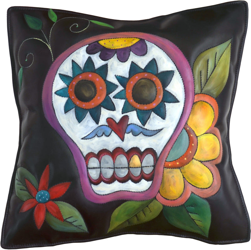 Leather Pillow –  Beautiful sugar skull pillow with flowers